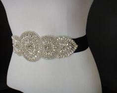 Negro cristal novia faja cinturón negro por JaimeBridalCouture