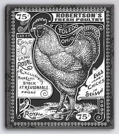 Personalized Vintage Rooster Canvas Black and White Print