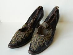 Brown Leather And Beadwork size 3 Edwardian.