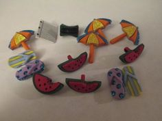 14 Summer Themed Buttons Resins Craft Supplies