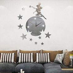 Creative Wall Clock in Mirror Faced Starry Sky Design – GBP £ 29.28