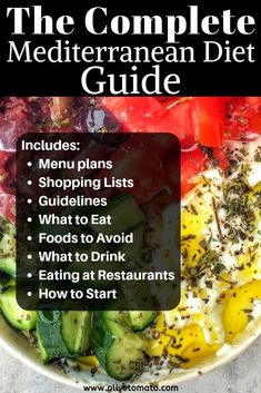 The most concise detailed guide for the Mediterranean Diet including menus shopping lists tips and guidelines. The most concise detailed guide for the Mediterranean Diet including menus shopping lists tips and guidelines. Diets Plans To Lose Weight, Diet Food To Lose Weight, Losing Weight, Diet Plan For Weight Loss, Weight Loss Challenge, Reduce Weight, Healthy Weight, Weight Gain, Easy Mediterranean Diet Recipes