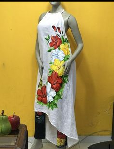 Hand Painted Dress, Fabric Painting, Hibiscus, Babyshower, High Neck Dress, Summer Dresses, Closet, Ideas, Fashion