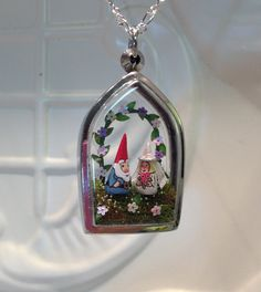 Bride and Groom Gnome Terrarium Pendant Necklace  by WorkofWhimsy