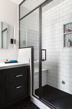 San Francisco Bathroom Remodel, Steam Shower, Black Hex Floor Tiles, White Subway Tiles, Ann Sacks Tile, Black Trim, Black Vanity,