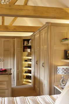 For over 25 years, Figura have been creating handmade luxury interiors for some of Surrey's most beautiful homes. Vaulted Ceiling Bedroom, Bespoke Kitchens, Bathroom Furniture, Luxury Interior, Beams, Beautiful Homes, Master Bedroom, Dressing Room, Wardrobes