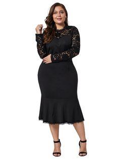 Plus Size Elegant Lace Patchwork Bodycon Dress, Black / XL Long Floral Maxi Dress, Lace Maxi, Dresser, Desi, Lace Dress With Sleeves, Patchwork Dress, V Neck Dress, Plus Size Dresses, Vintage Dresses