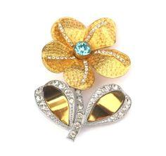 Blumenbrosche mit Strass Crystal/Türkis - Gablonz/Böhmen um 1930 - sc253   Vintage Bohemian Crystal Rhinestone Flower Pin