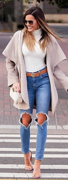 #winter #outfits blue distressed jeans