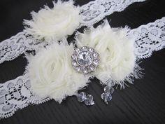 Wedding Garter, Wedding Garter Set, Garter Set, Ivory Garter with Crystals, Vintage Garter Set, Bridal, Sparkle, Wedding Garder on Etsy, $36.99