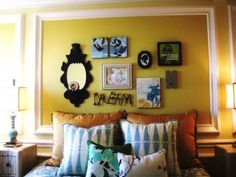 wall decor and pillows