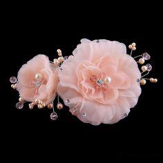 ihomecoming.com SUPPLIES  Fresh Ladylike Double Flowers Diamond High-Grade Manual Bridal Headpiece With Pearl Hair Flowers