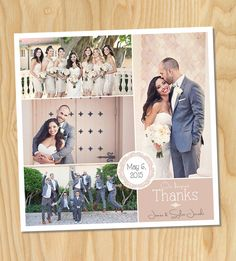 Square Ornate Frame - Custom Printable Wedding Thank You Photo Collage Card