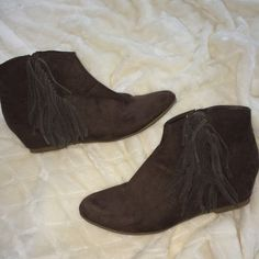 American Eagle Brown fringe Booties Only worn once, in great condition! American Eagle Outfitters Shoes Ankle Boots & Booties