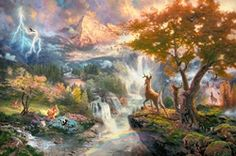 Mind Blowing Disney Paintings ~ Bambi's First Year - Thomas Kinkade's rendition of Disney classics
