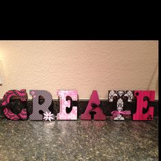 Wood letter sign I made for my Craft Room! Wood Letter Crafts, Wood Letters, Wood Crafts, Diy Crafts, Craftroom Ideas, Sewing Rooms, Sign I, Art Decor, Craft Ideas