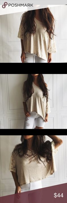Lace oatmeal boxy crop top Relaxed chic flirty boxy style top..loose sexy fit u can play off the shoulder. So cute with jeans 95% rayon 5% spandex...I am modeling size small. Boutique Tops Tees - Short Sleeve