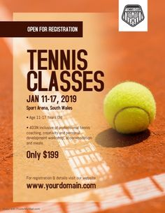 Design created with PosterMyWall Tennis Camp, Tennis Funny, Tennis Tips, Tennis Clubs, Graphic Design Flyer, Flyer Design, Sports Templates, Poster Templates, Flyer Template