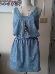 View details for the project Casual dress in Blue Polkadot  on BurdaStyle. #casualdresses
