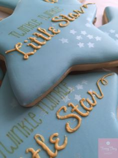 Large star cookies to match the invitation - subtle stars stencilled in the background Star Stencil, Star Cookies, Cookie Decorating, Bakery, Sugar, Invitations, Desserts, Food, Biscuits