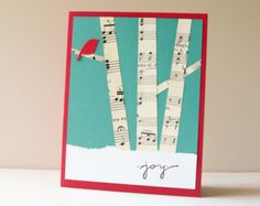 Christmas Card - Handmade Card - Holiday Greeting Card - Birch trees, winter forest, red bird, vintage music, snow. Could be 'Thank You' card.