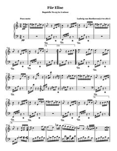 Piano Sheet Music Classical, Easy Piano Sheet Music, Free Sheet Music, Music Sheets, Music Tabs, Music Notes, Fur Elise Sheet Music, Saxophone Sheet Music, Violin Sheet