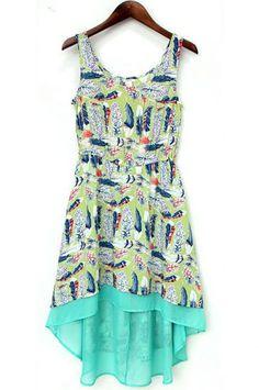 Green Sleeveless Feather Print High Low Dress - Sheinside.com Mobile Site