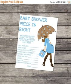 SALE The Price is Right Baby Shower Game INSTANT DOWNLOAD 8.5x11 Inches Boy Baby Shower Game by PartyPrintery on Etsy https://www.etsy.com/listing/200509510/sale-the-price-is-right-baby-shower-game