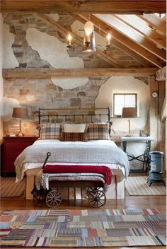 Love the use of the old wagon to stack blankets.