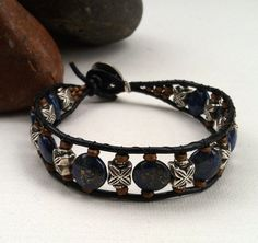 Men's leather bracelet mens lapis bracelet by StefaniFixCollection