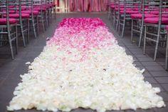 Ombre flower petals down the #wedding aisle! Super romantic.