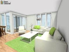 """YOU DECIDE - Did they choose the right shade of hardwood flooring for this living room?  Decor from IKEA & Pier 1 Imports: http://www.roomsketcher.com/features/homedesigner/   3D floor plan from """"Home Builder Of The Week"""" Neugruen's E1 home design designed in RoomSketcher Business Edition"""