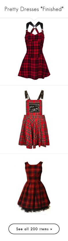 """""""Pretty Dresses *Finished*"""" by yaja-diego ❤ liked on Polyvore featuring dresses, vestidos, short dresses, red, gothic dress, red tartan dress, tartan dress, short red cocktail dress, red dress and skirts"""