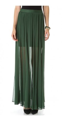 ADME GODET MAXI SKIRT $55.94 An alice + olivia maxi skirt looks breezy and elegant, styled in crinkled chiffon. Tonal elastic panels detail the waistband. Exposed back zip. Jersey lining.