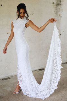 Gorgeous Embroidered Sleeveless Lace Slit Sheath Wedding Dress / Bridal Gown with High Neck, Back Cut and a Train. Dress by Grace Loves Lace Stunning Wedding Dresses, Wedding Dress Trends, Wedding Attire, Casual Wedding, Mod Wedding, Wedding Bride, Wedding Gowns, Lace Wedding, Wedding Kimono