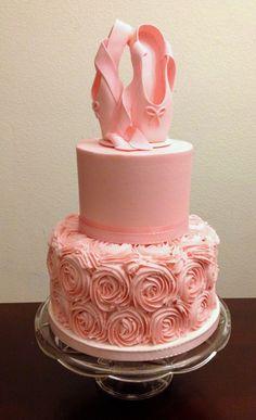 Ballet Cake made for a ballerina's baby shower. Cake is buttercream and shoe topper is gumpaste. Topper tutorial at: http://caketalkblogger.blogspot.com/2014/07/how-to-make-ballet-shoes-for-your-cake.html