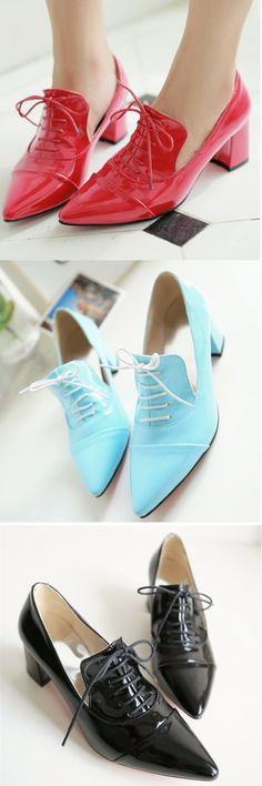 US$18.91 Big Size Pointed Toe Pu Pure Color Office Work Lace Up Square Heel Shoes