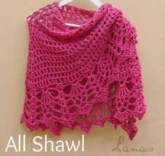 2 All Shawls: Pink and Red (Lanas de Ana) with link to free pattern in Raverly