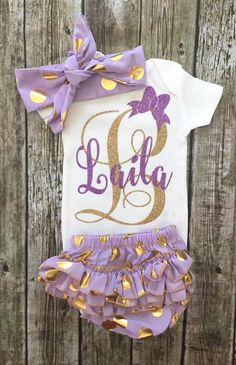 Personalized Monogram Onesie Sparkle Baby Girl by BellaPiccoli