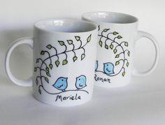 Piccioncini mug Custom mano dipinta tazza regalo di PaintMyName