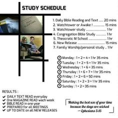 Sample Study Schedule Ephesians 5:16 - Make the best use of your time. http://MinistryIdeaz.com