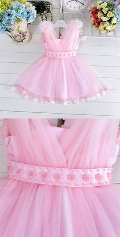 Pink V Neck Sleeveless A Line Tulle Short Flower Girl Dresses With Beading EVERISA is top 1 online store for cheap prom dresses, Affordable Bridesmaid Dresses, Pink Flower Girl Dresses, Dresses Kids Girl, Girl Outfits, Tutu Outfits, Kids Frocks Design, Baby Frocks Designs, Inexpensive Wedding Dresses, Affordable Bridesmaid Dresses, Baby Dress Design