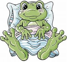 Yvonne Creations: Frog all tucked in Funny Frogs, Cute Frogs, Frog Pictures, Cute Pictures, Frog Quotes, Frog Drawing, Cartoon Clip, Frog Art, Cute Clipart