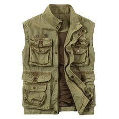 2012 men's clothing military style stand collar 100% cotton water wash bags vest outdoor fishing vest photography vest(China (Mainland))