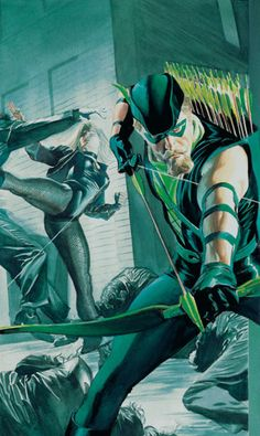 Green Arrow & Black Canary Kicking Butt - Alex Ross