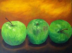 Green apple acrylic painting by rekARTdesigns on Etsy, $60.00