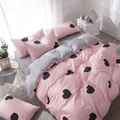 Quality Duvets and Bedding Sets Lovely Bedding Grey Bed Sheet Cotton King Size Bedding Set Queen Size Duvet Cover Set Heart Bed Set Pink with free worldwide shipping on AliExpress Mobile Pink Bedding Set, King Size Bedding Sets, Queen Size Duvet Covers, Grey Bedding, Duvet Cover Sets, Luxury Bedding, Paris Bedding, Grey Bed Sheets, Cute Room Decor