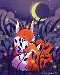 Mother Fox and baby Fox Art And Illustration, Fuchs Illustration, Illustrations, Fox Drawing, Fox Art, Cute Fox, Animal Drawings, Drawing Animals, Amazing Art