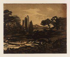 'A Blot: Landscape Composition', Alexander Cozens, Landscape Art, Landscape Paintings, Drawing Studies, Sketch 2, Grisaille, Romanticism, Ancient Art, Artist Painting, Oeuvre D'art