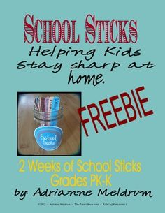 Free Fun School sticks for kiddos to do this summer